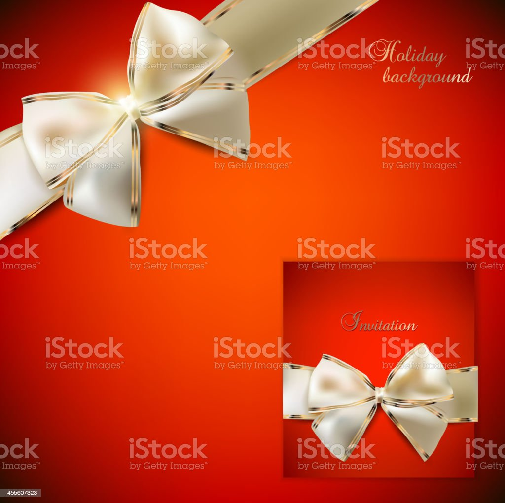Elegant red background and Gift Card with ribbons. royalty-free stock vector art