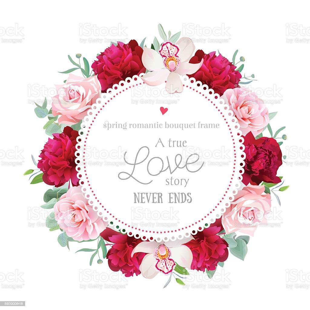 Elegant red peonies, orchid, rose, camellia, eucalyptus round vector frame vector art illustration