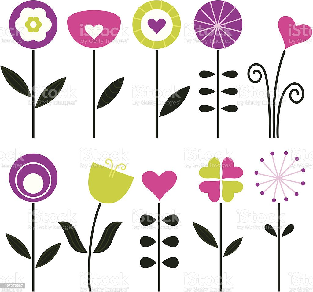 Elegant retro flowers isolated on white - black and colorful royalty-free stock vector art