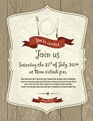 Elegant retro invitation design template on light gray wood