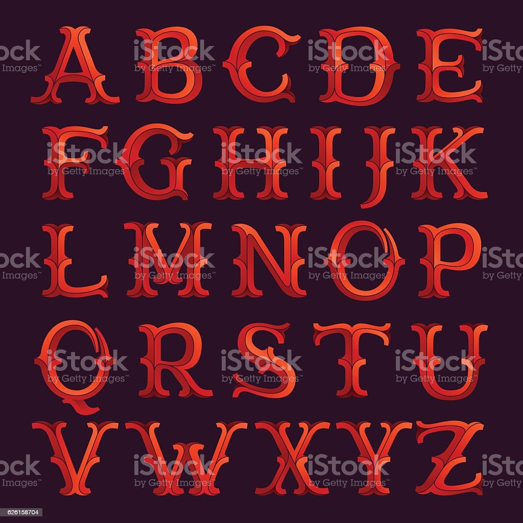 Elegant retro style faceted red font. vector art illustration