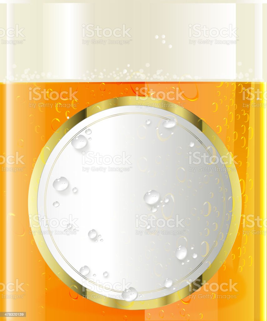 Elegant Round Label on Beer Glass with Water Drops royalty-free stock vector art
