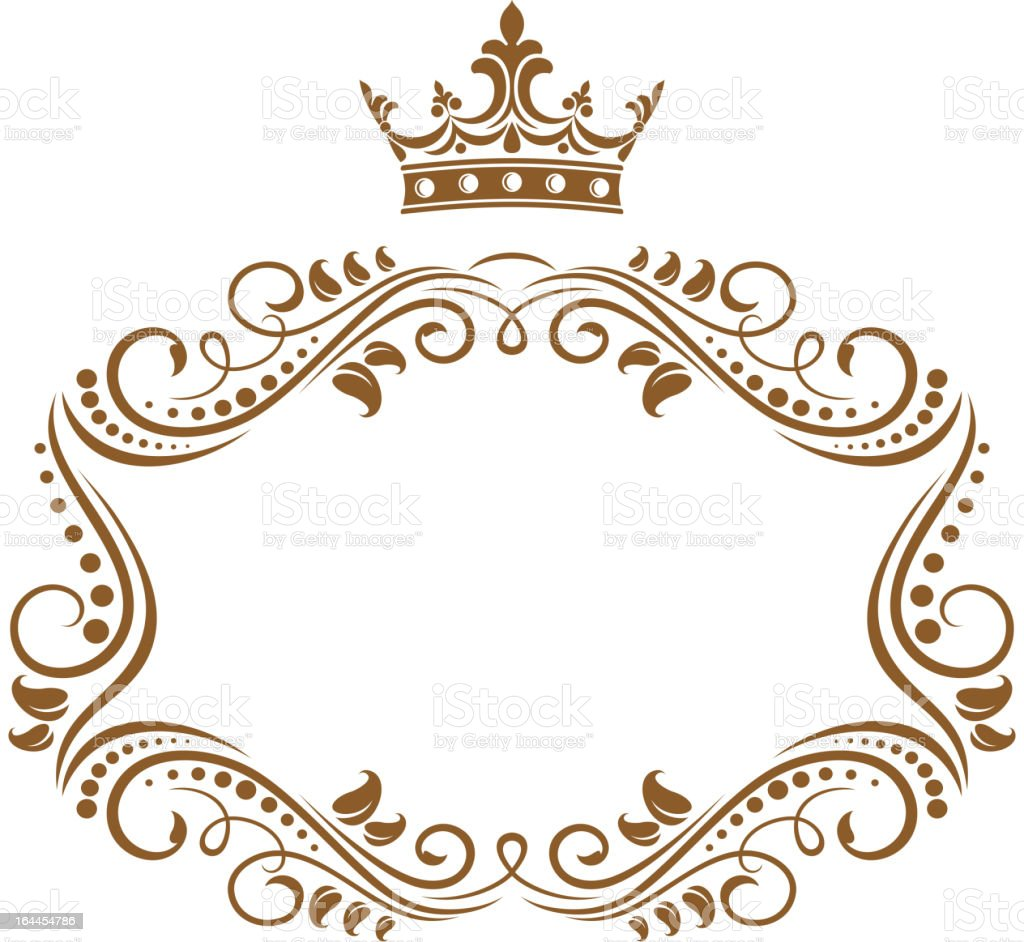elegant royal frame with crown royalty free stock vector art