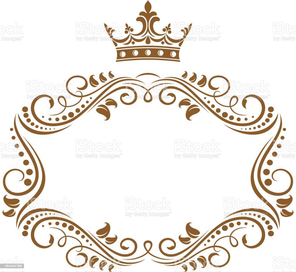 Elegant royal frame with crown vector art illustration