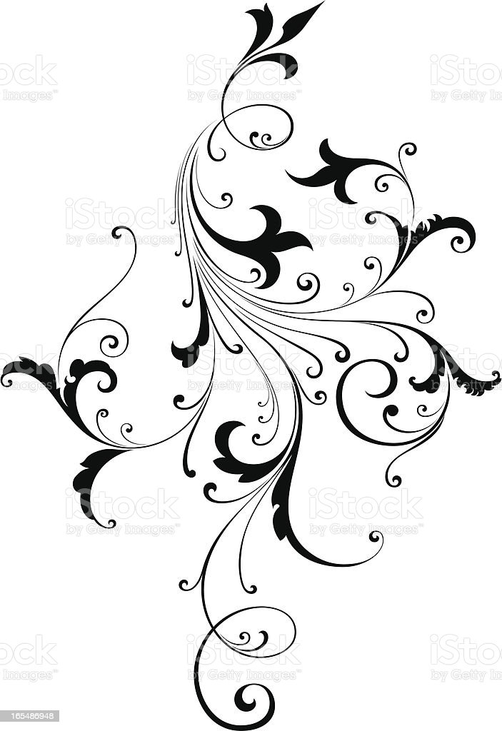 Elegant Scroll Design vector art illustration