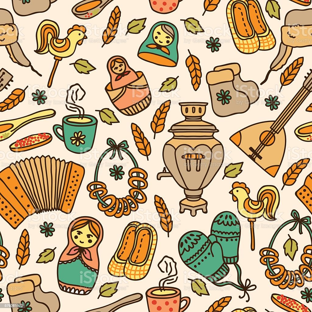 Elegant seamless pattern in Russian style vector art illustration