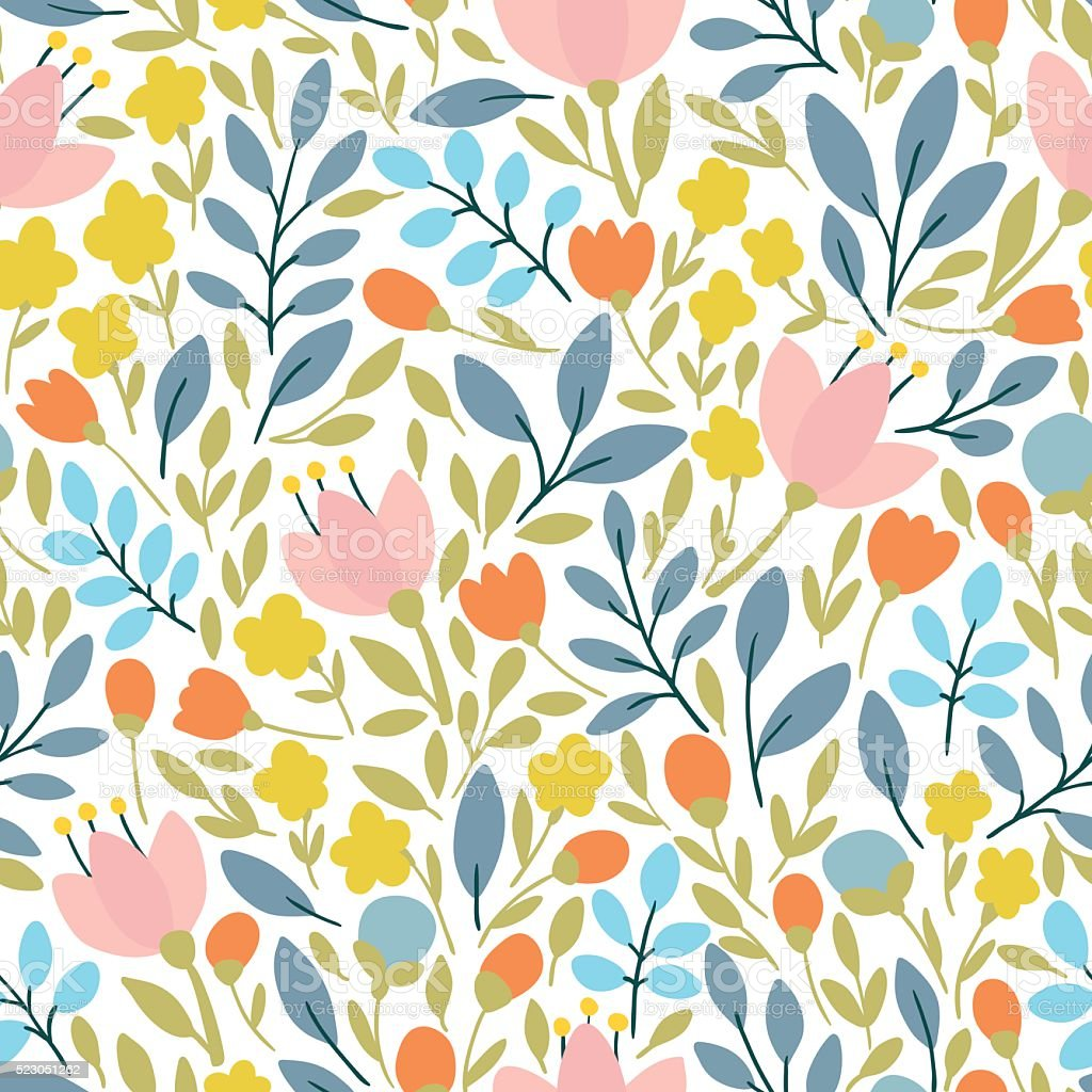 Elegant seamless pattern with flowers, vector illustration vector art illustration