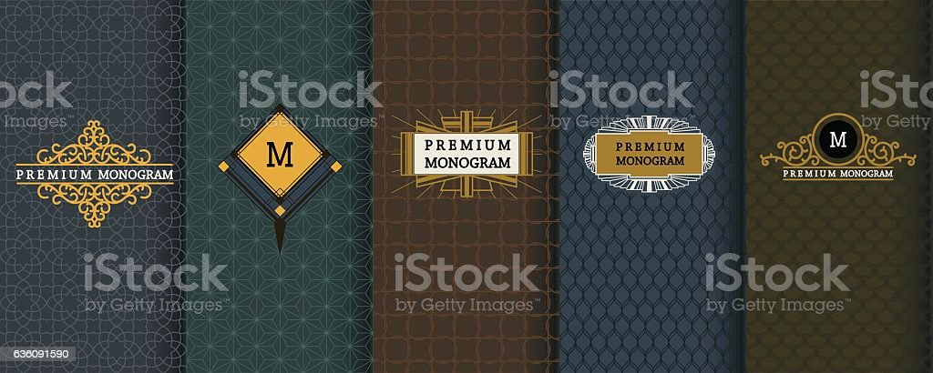 Elegant set design elements, labels, icon, frames, seamless backgrounds for vector art illustration
