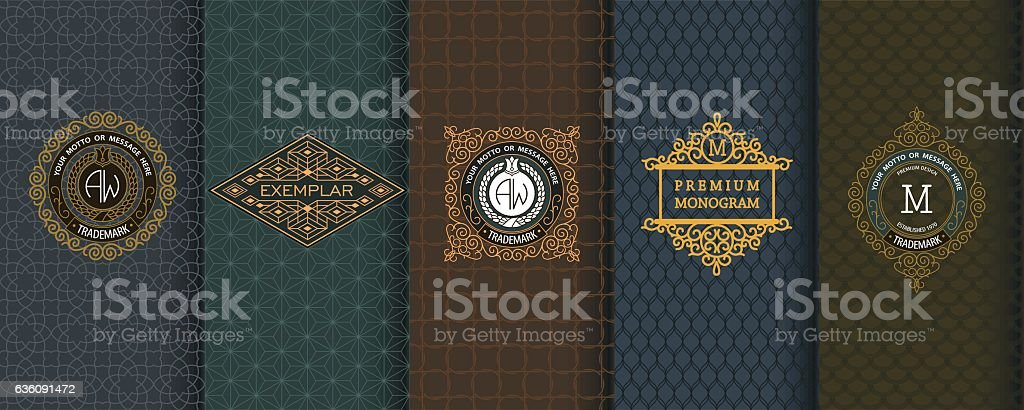 Elegant set of design elements, labels, icon, frames, seamless backgrounds royalty-free stock vector art