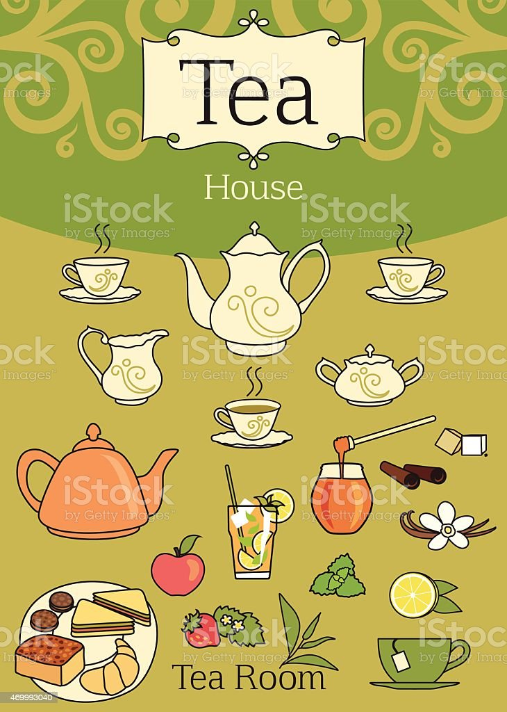 Elegant set of tea design elements vector art illustration
