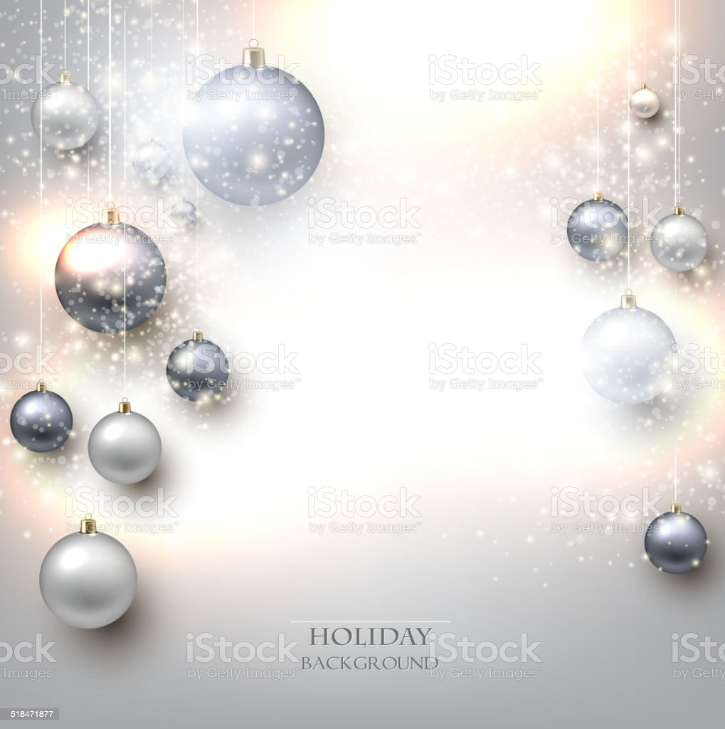Elegant shiny Christmas background with baubles and place for te vector art illustration