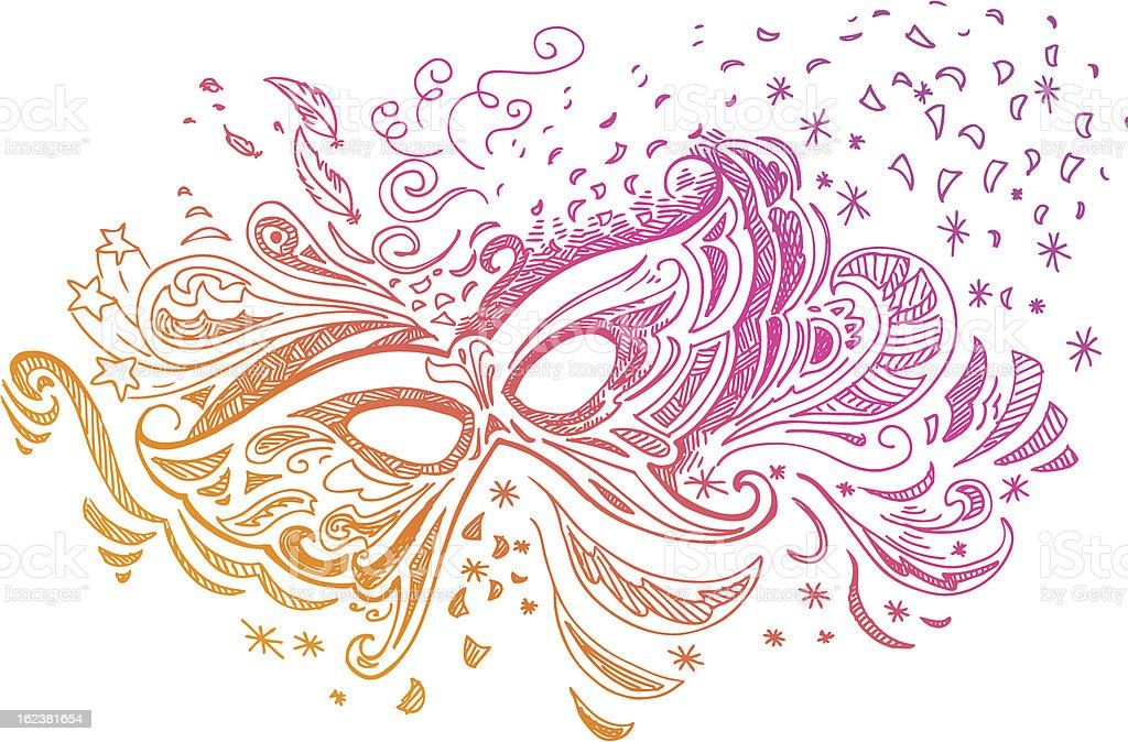 Elegant sketched illustration with carnival mask royalty-free stock vector art