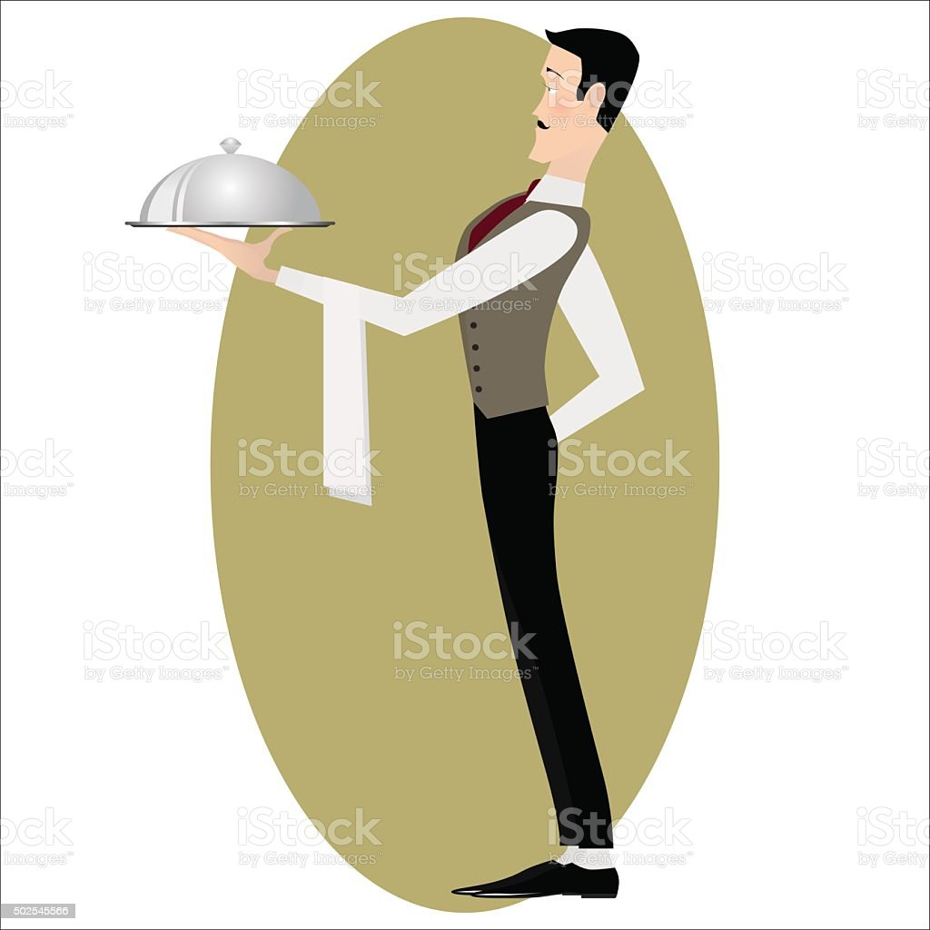 Elegant slim waiter with a serving dish vector art illustration