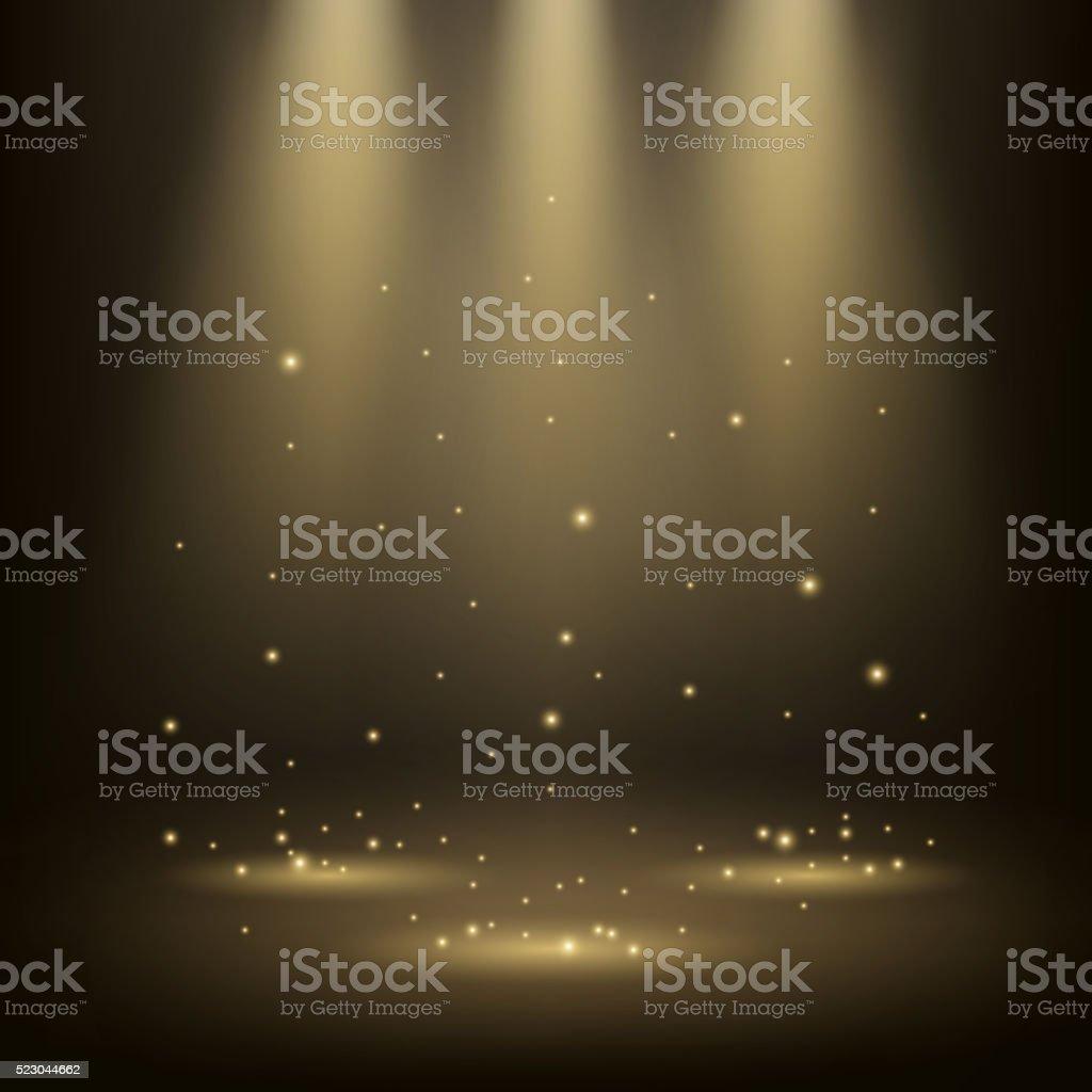 Elegant spotlights shining with sparkles vector art illustration