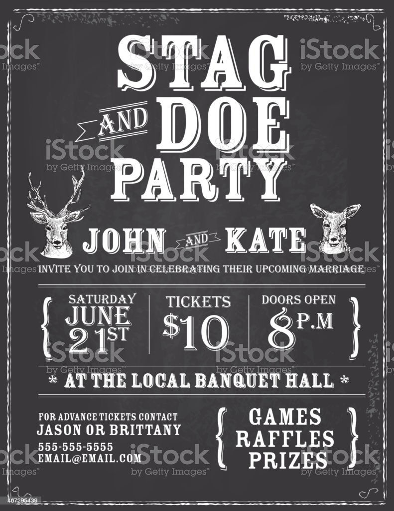 Elegant stag and doe engagement party chalkboard invitation design template vector art illustration