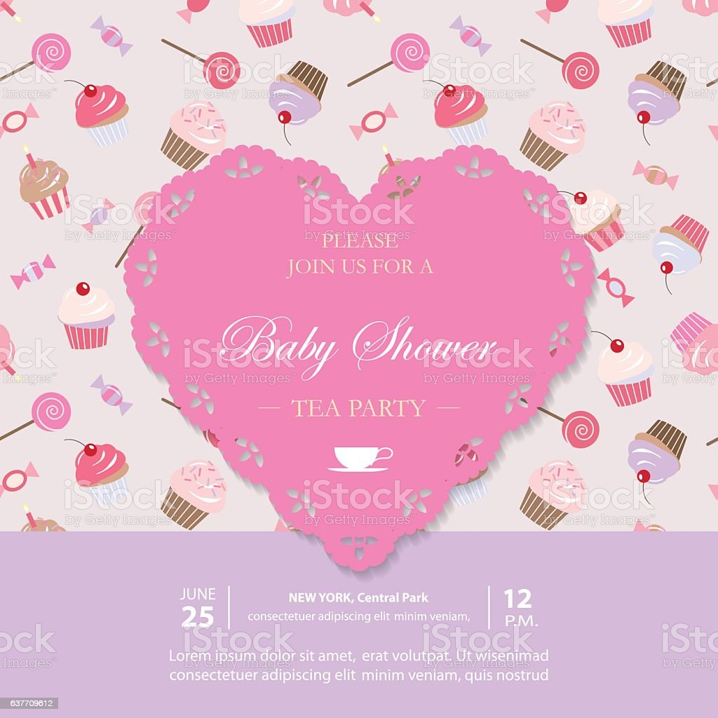 Elegant template with lacy cutout heart. vector art illustration