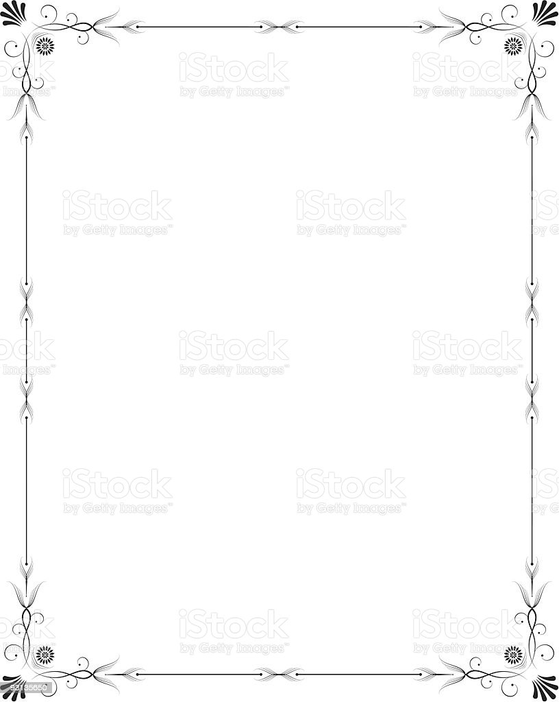 Elegant thin frame around a white background royalty-free stock vector art