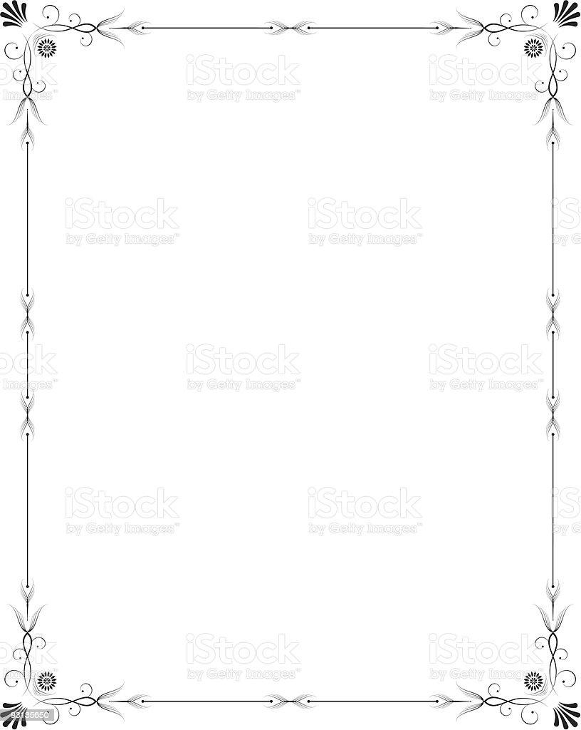 Elegant thin frame around a white background vector art illustration