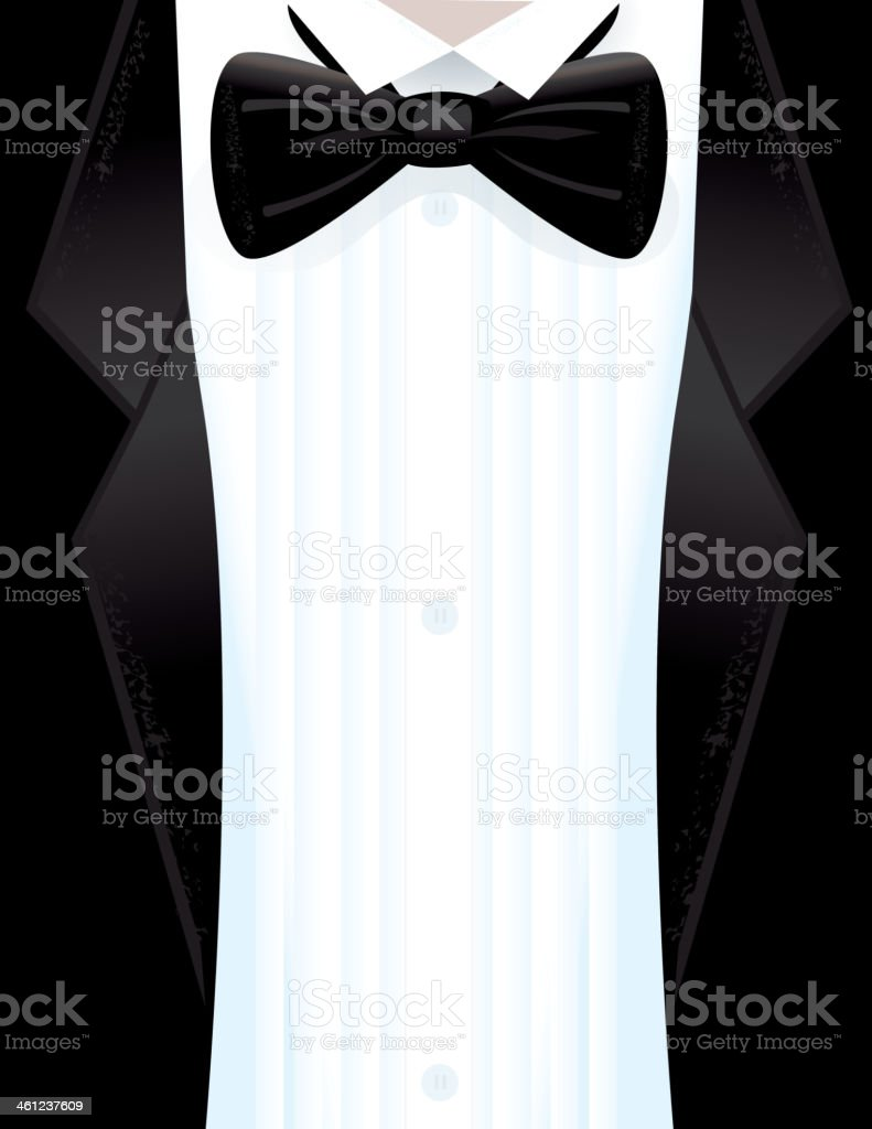 Elegant tuxedo black tie event design background vector art illustration