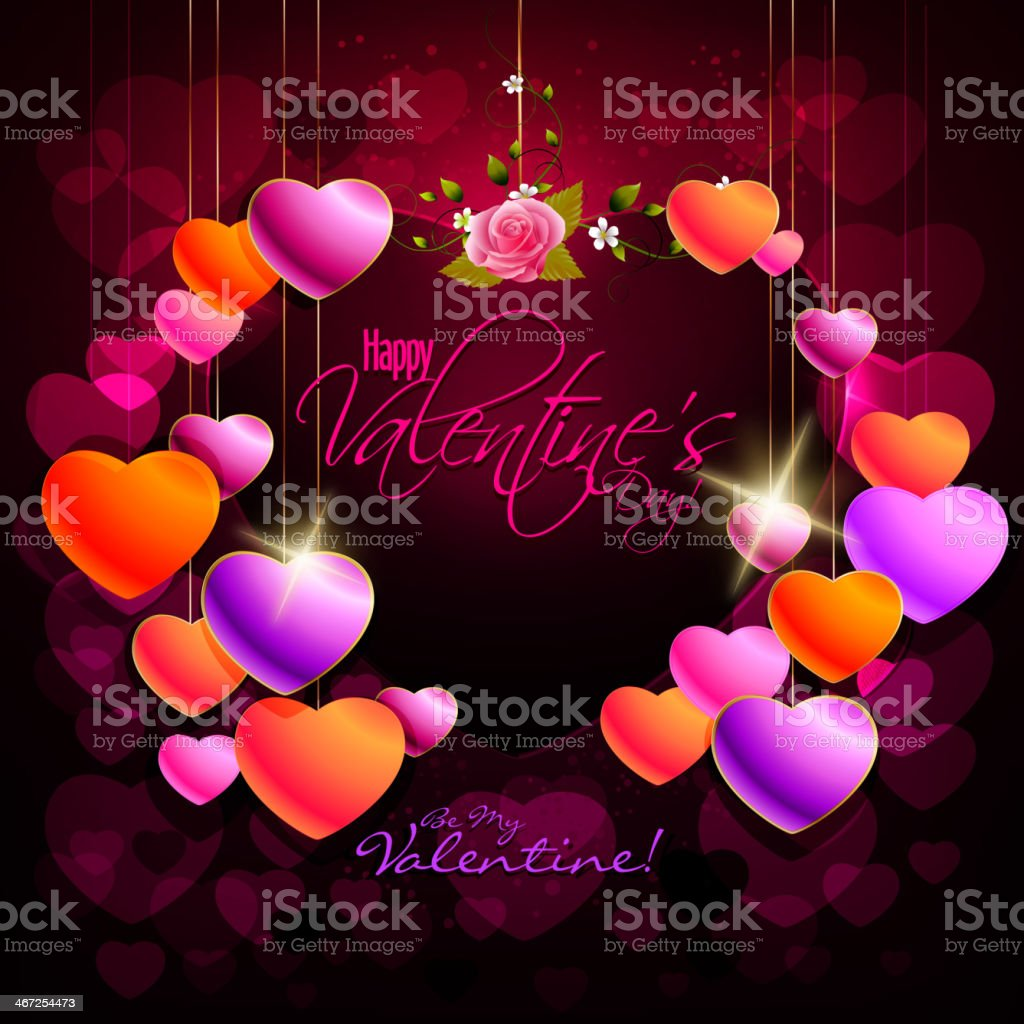 Elegant Valentine Background with Colorful Hearts royalty-free stock vector art
