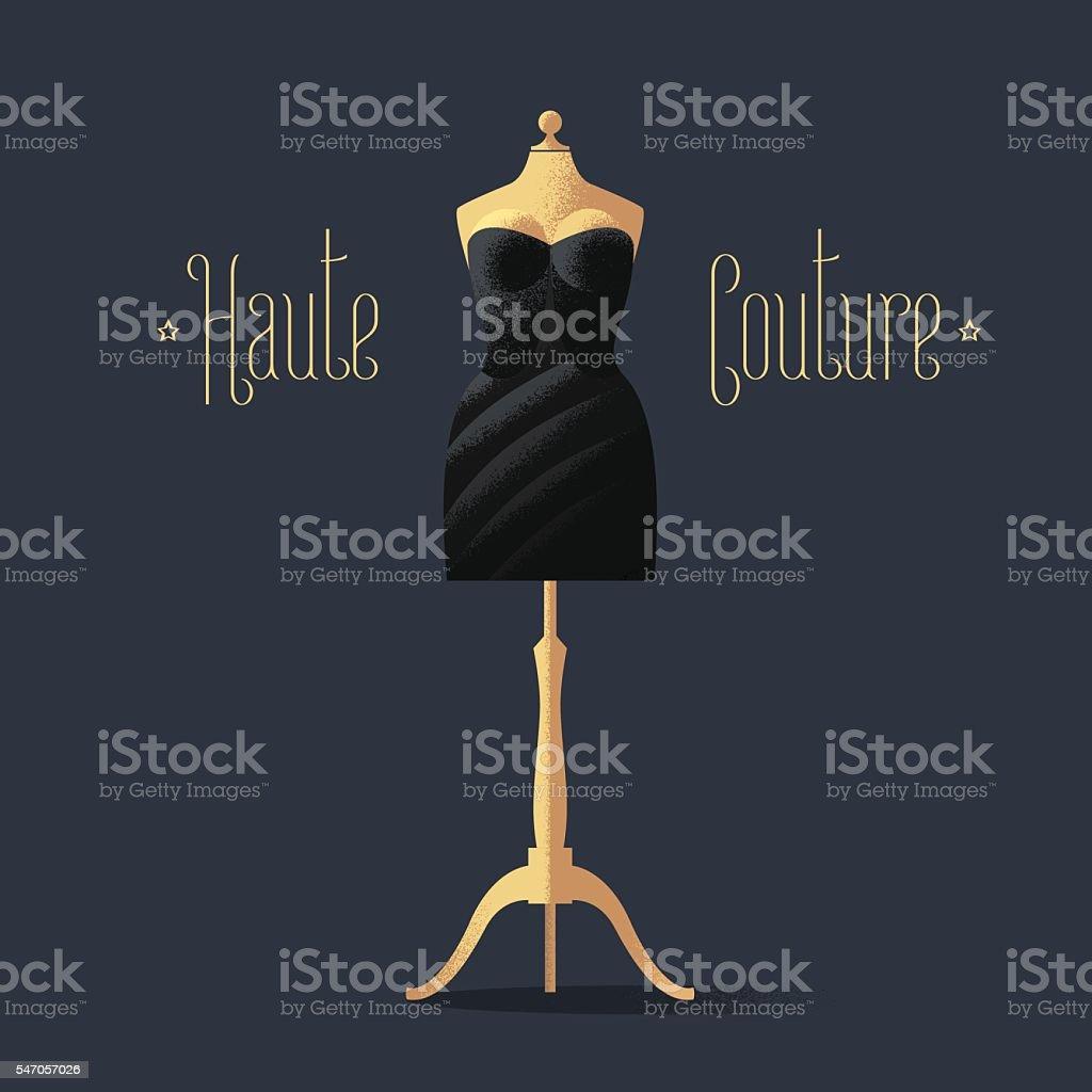 Elegant vector black dress for dinner, cocktail vector art illustration