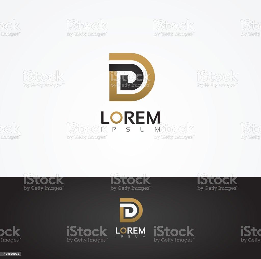 Elegant vector graphic alphabet / letter D vector art illustration