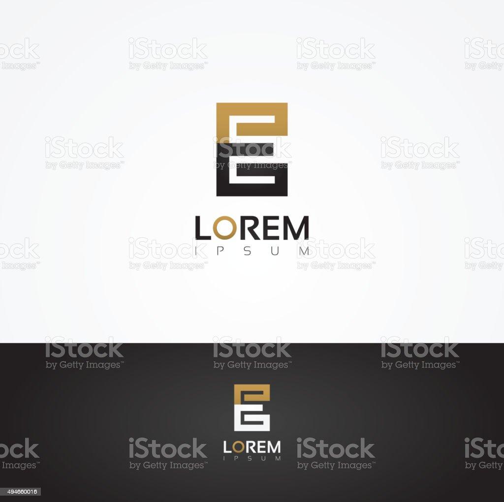 Elegant vector graphic alphabet / letter E vector art illustration