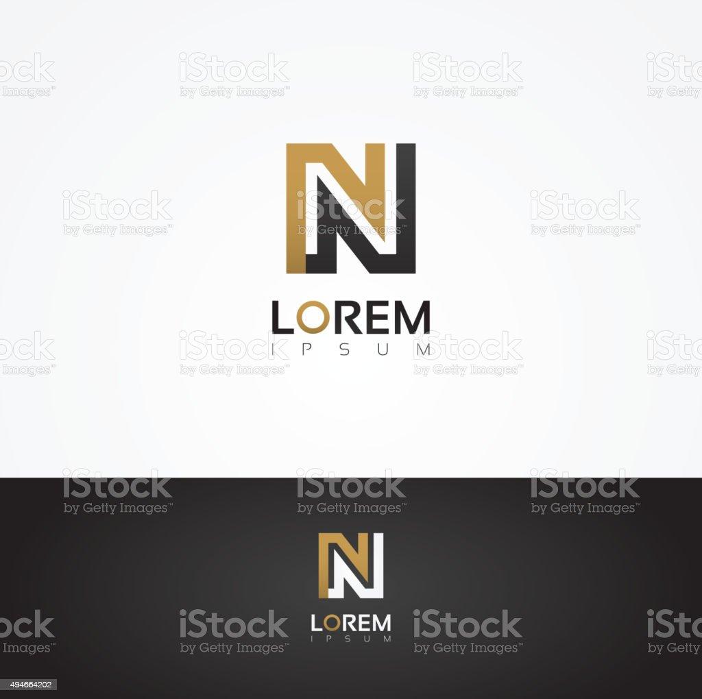 Elegant vector graphic alphabet / letter N vector art illustration