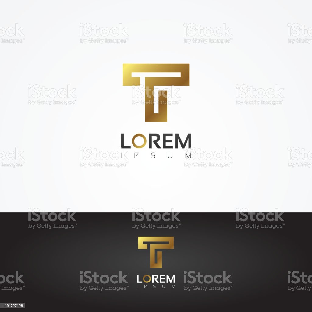Elegant vector graphic gold alphabet symbol / letter T vector art illustration