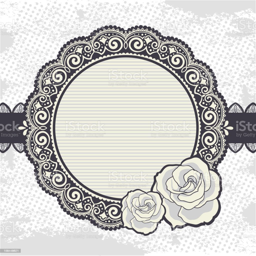 Elegant Vintage lace frame with the roses royalty-free stock vector art