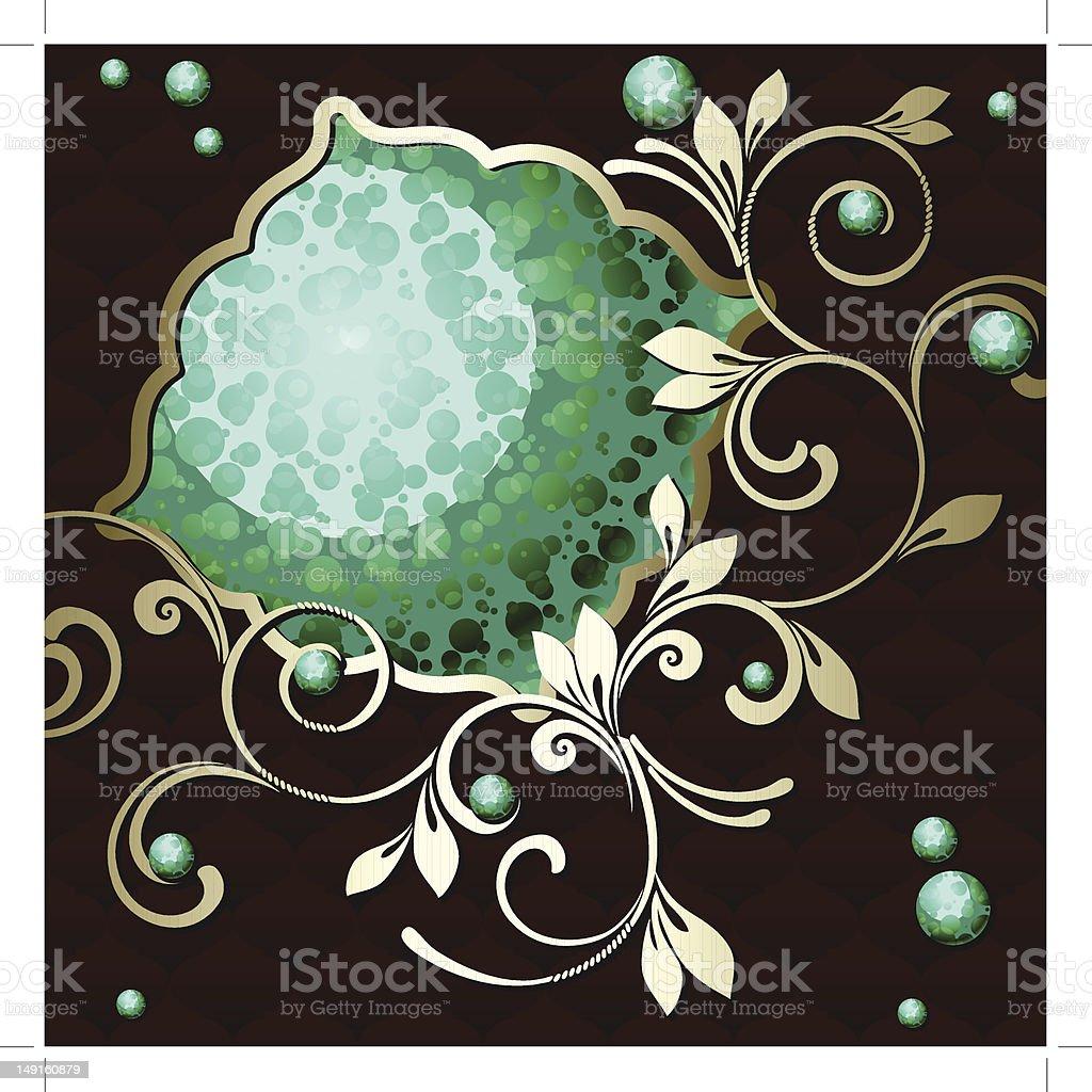 Elegant vintage rococo emblem in dark green royalty-free stock vector art