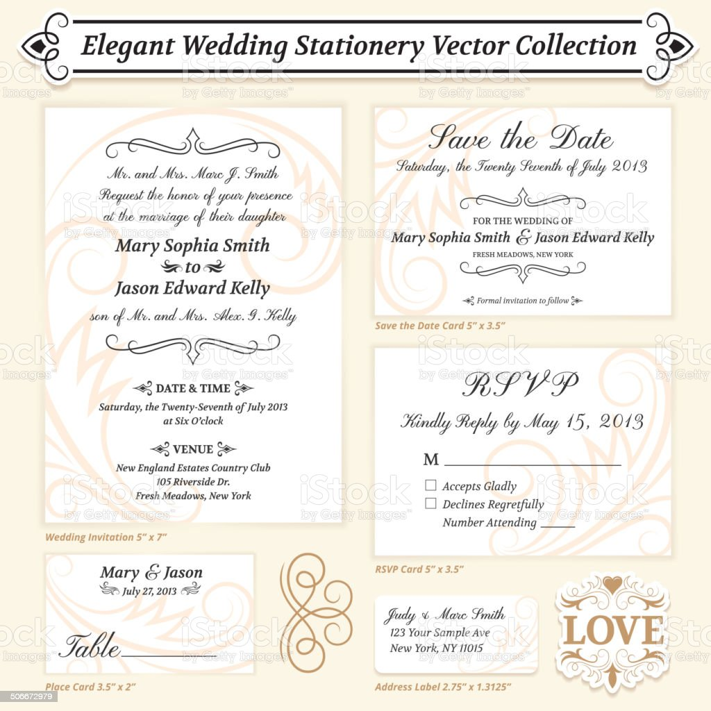 Elegant Wedding Stationery Vector Collection vector art illustration