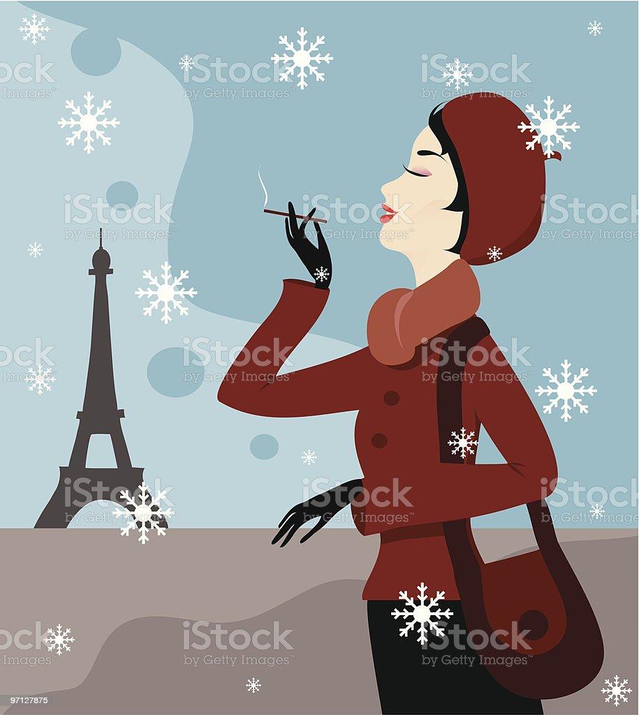 Elegant woman in Paris royalty-free stock vector art