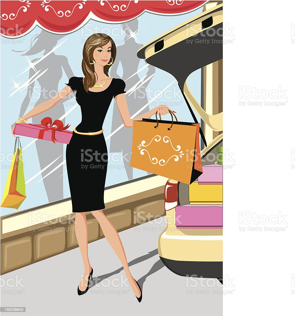 Elegant woman in shopping mood royalty-free stock vector art