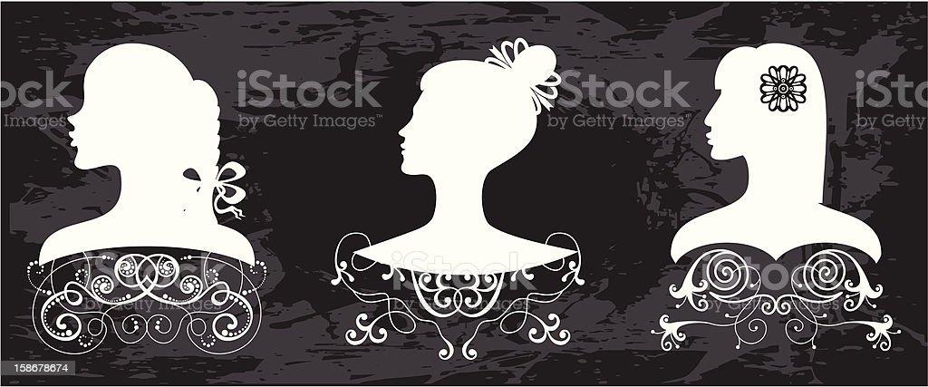 Elegant women's profiles royalty-free stock vector art