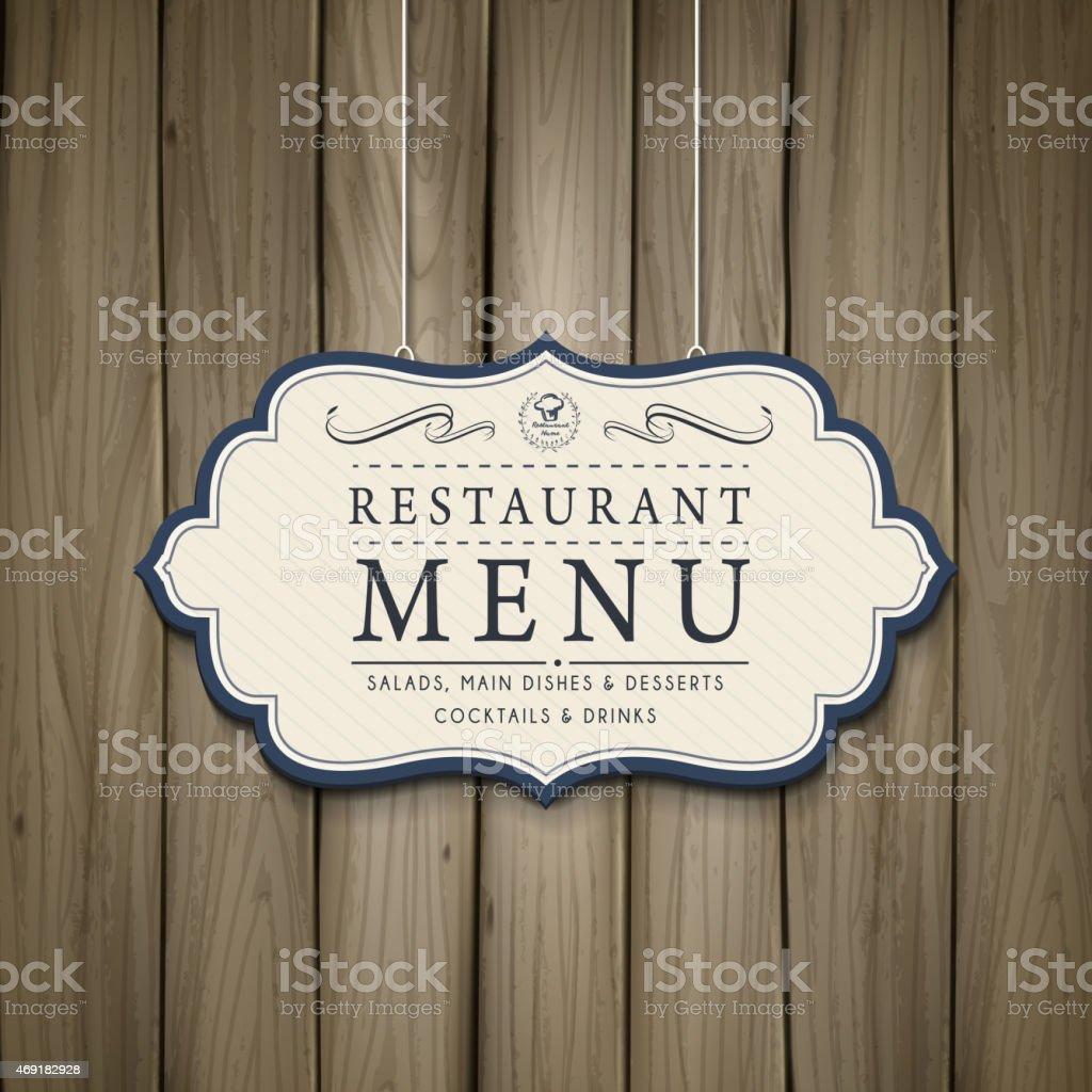 elegant wooden style restaurant menu design vector art illustration