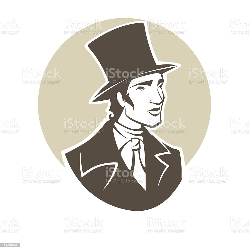 Elegant young man of the nineteenth century. vector art illustration