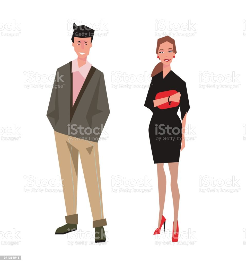 Elegantly Dressed Couple vector art illustration