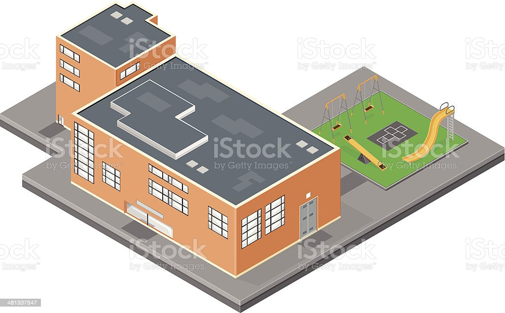 Elementary School Building with playground royalty-free stock vector art