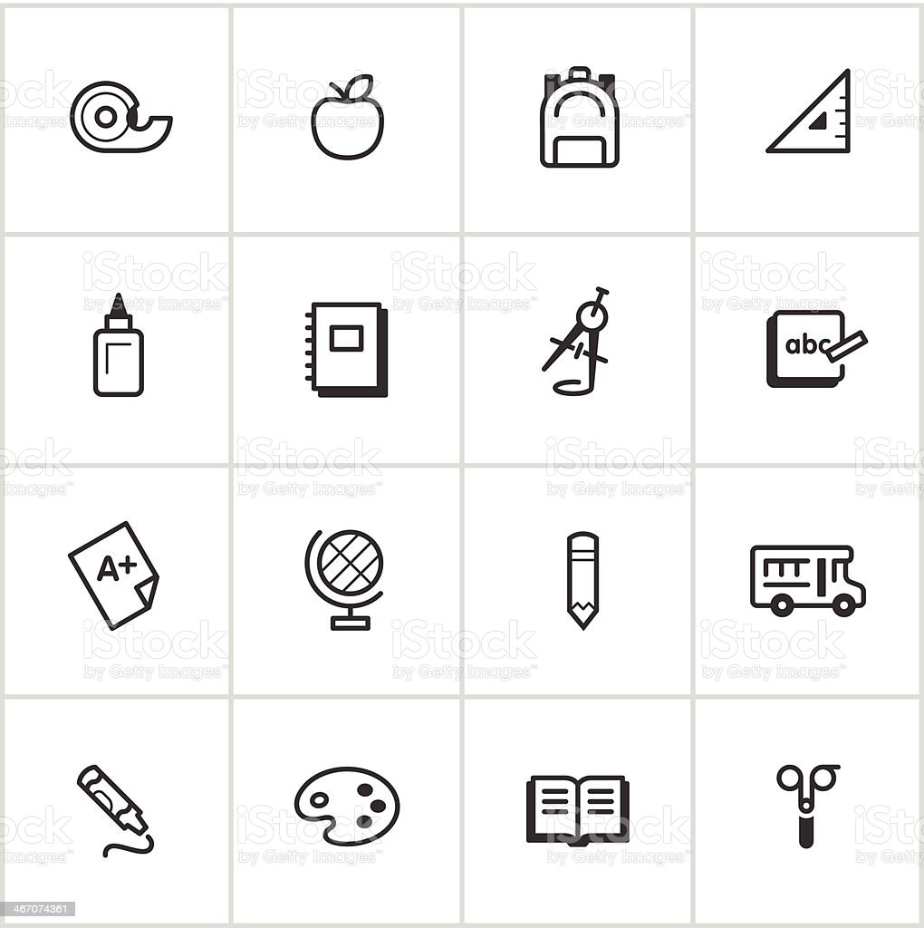 Elementary School Icons — Inky Series vector art illustration