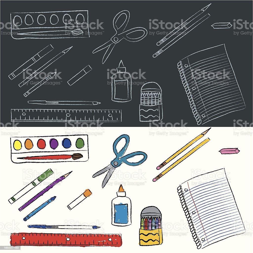 Elementary School Supplies vector art illustration