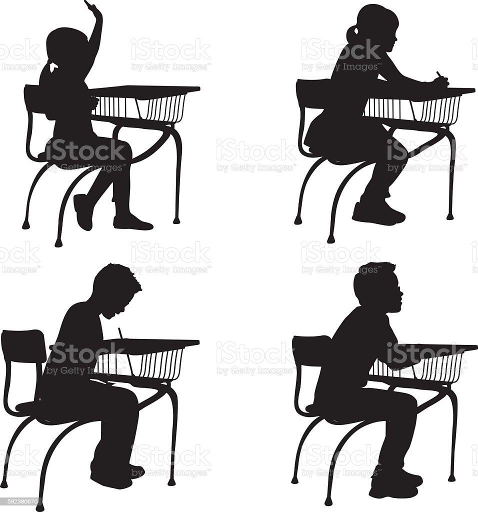 Elementary Student Desk Bundle vector art illustration