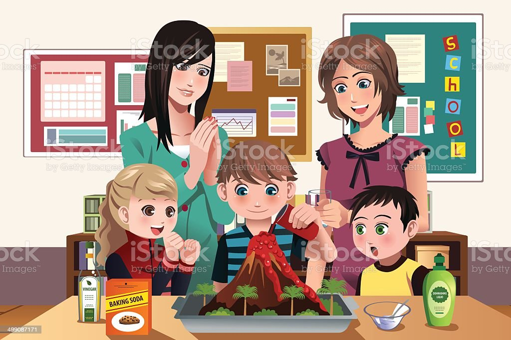 Elementary students doing a volcano experiment vector art illustration