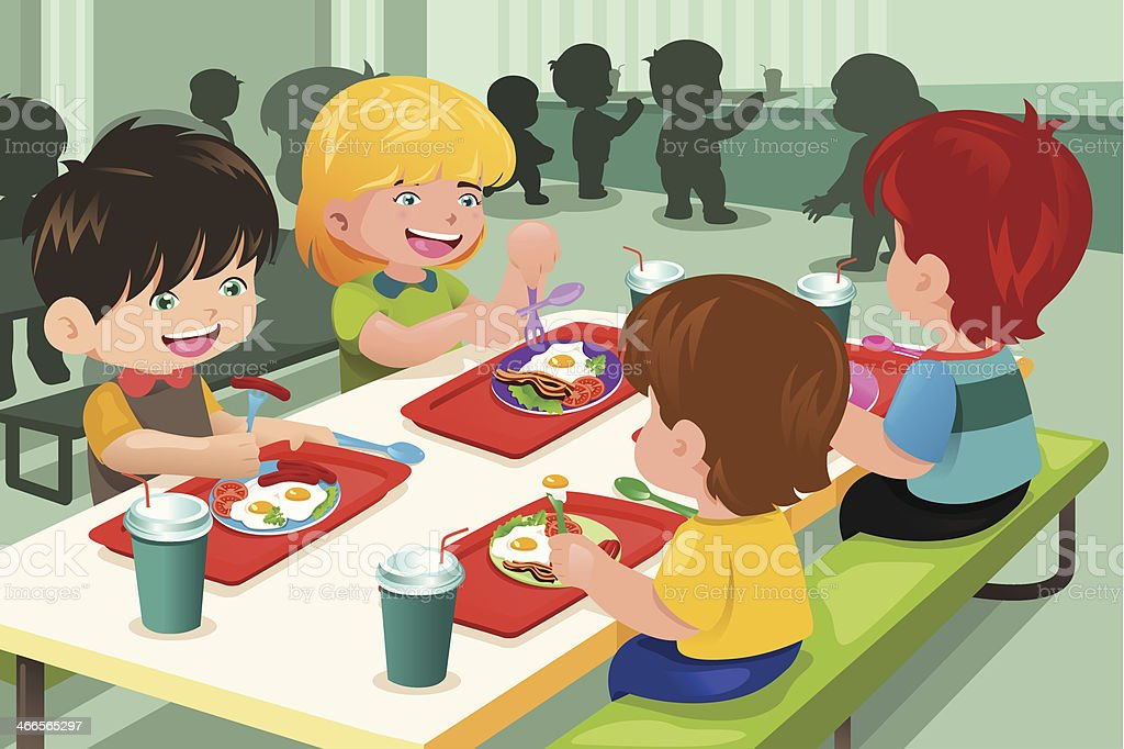 Elementary students eating  lunch in cafeteria vector art illustration