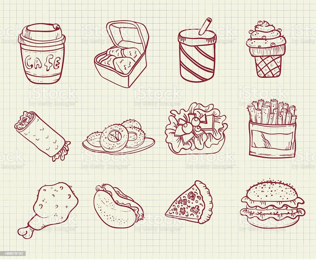 elements fast food vector art illustration