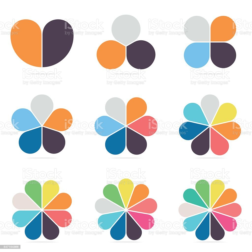 Elements for infographics. Pie charts, diagrams with 2- 10 petals. vector art illustration