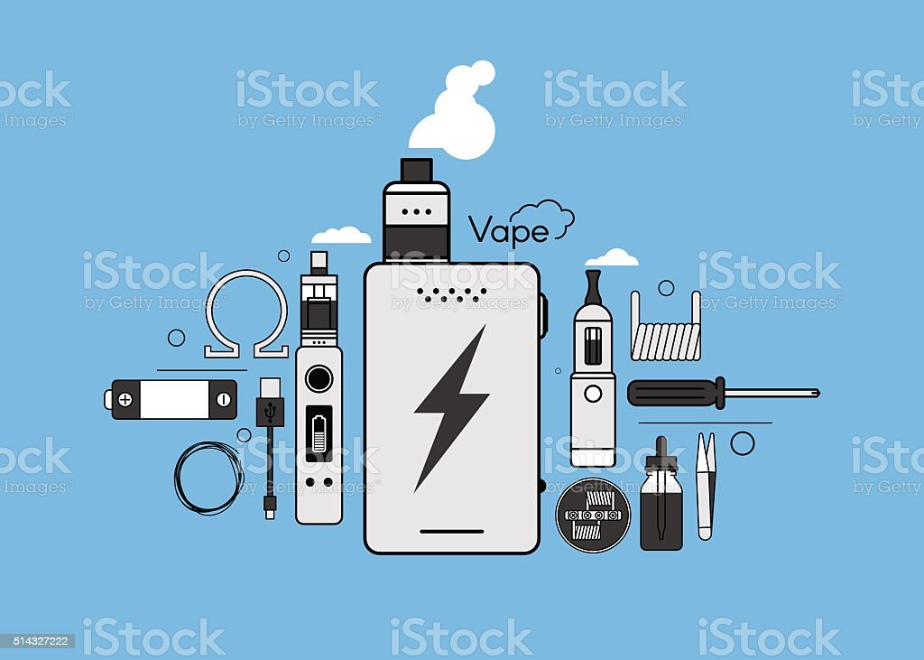 Elements for Vapor bar and vape shop, electronic cigarett vector art illustration