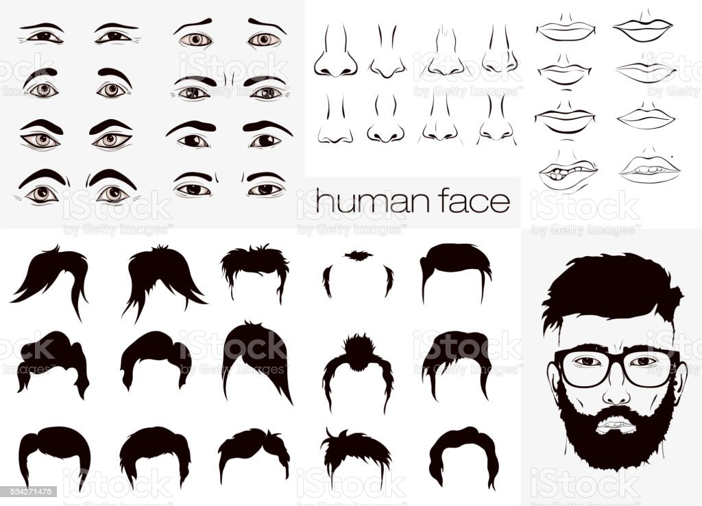 elements of a person face men vector art illustration