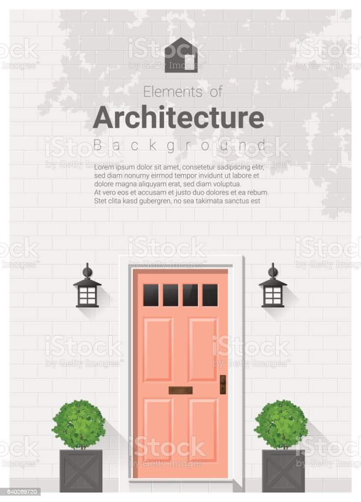 Elements of architecture , front door background 20 vector art illustration