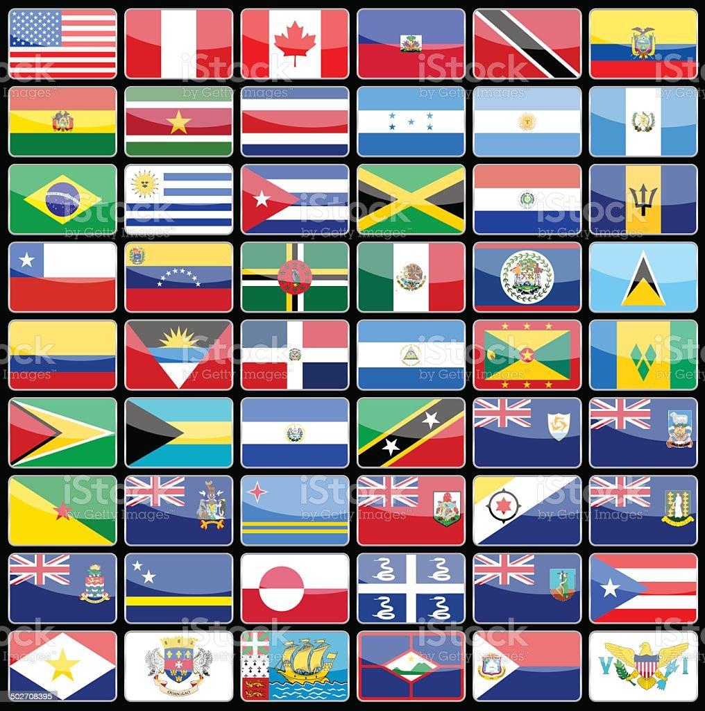 elementos de diseo de iconos de banderas del continente de norteamrica libre de derechos libre